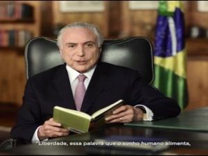 Na TV, Temer cita injustiça com Tiradentes e diz que História, ao final, lhe deu vitória maior.