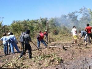 Famílias andam 3 km para pegar água após assentamento ser atingido por incêndio em Teresina.