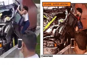 Artista desenha mulher que ajudou a tirar motorista após acidente com helicóptero de Boechat: 'Super