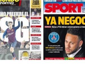 Neymar e Coutinho em direções opostas, destaca imprensa espanhola.
